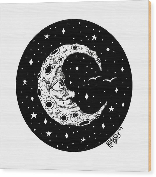 Man In The Moon Drawing Wood Print by Rick Frausto