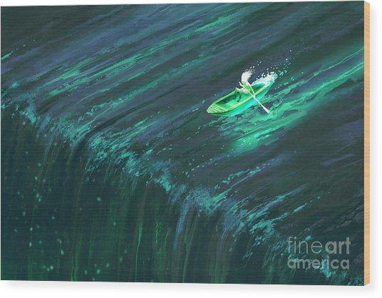 Man Rowing In Glowing Green Boat Near Wood Print