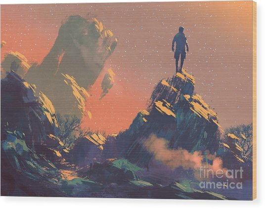 Man Standing On Top Of The Hill Wood Print