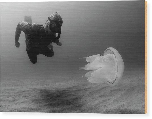 Man Underwater Wood Print