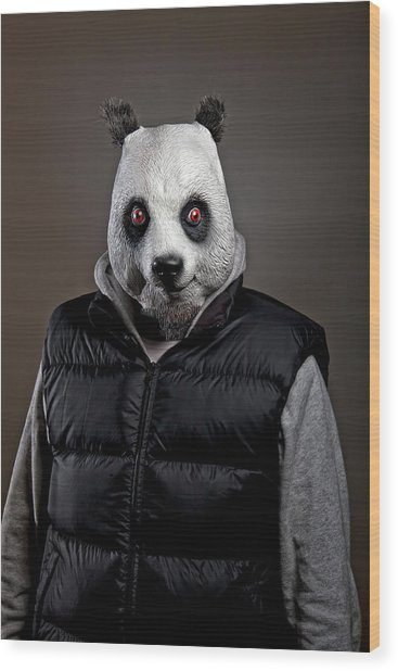 Man Wearing Panda Mask Wood Print