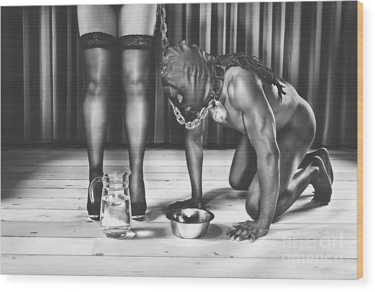 Man With Mask On His Knees Beside His Mistress Wood Print