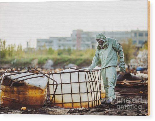 Man With Protective Mask And Protective Wood Print