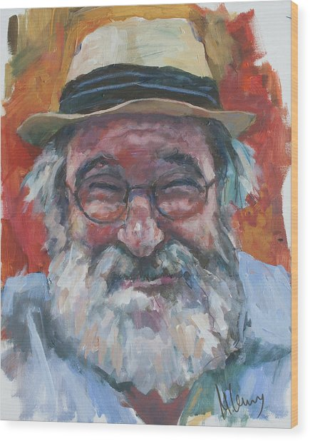 Man With Yellow Hat Wood Print