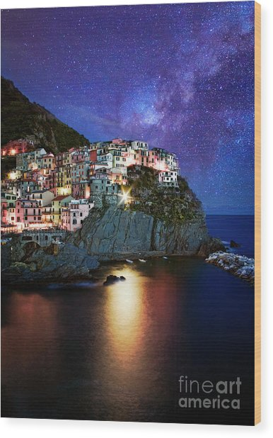 Manarola By Stars Wood Print