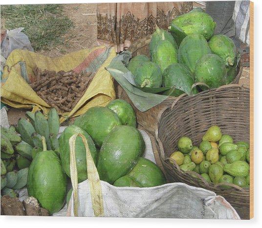 Mangos, Turmeric And Green Bananas  Wood Print