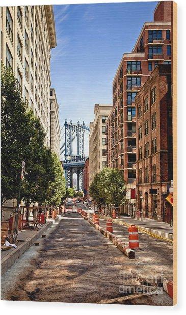 Manhattan Bridge,view From Washington Wood Print