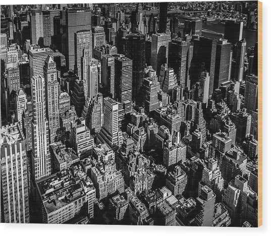 Manhattan Rooftop View Wood Print