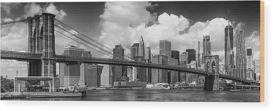 Manhattan Skyline And Brooklyn Bridge Panorama Monochrome Wood Print by Melanie Viola
