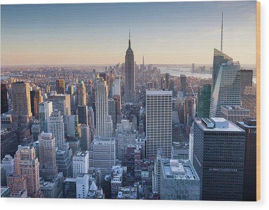 Manhattan Skyline Wood Print by Chris Hepburn