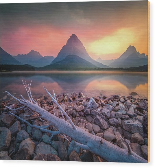 Many Glacier Sunset / Swiftcurrent Lake, Glacier National Park  Wood Print