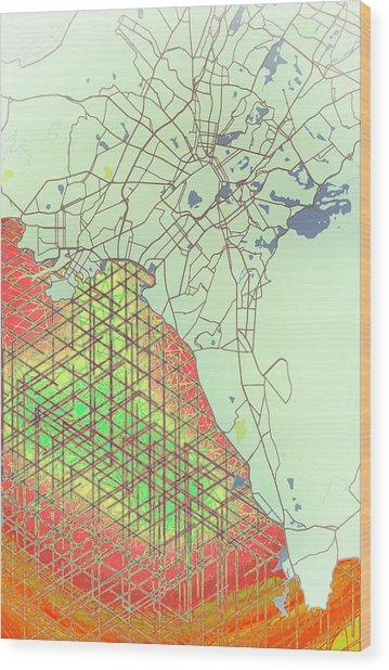 Map Of Athens Wood Print