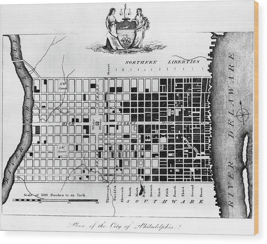 Map Of Colonial Philadelphia Wood Print by Hulton Archive