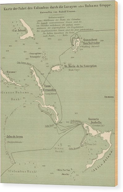 Map Of Columbus Route In Bahamas Wood Print by Kean Collection