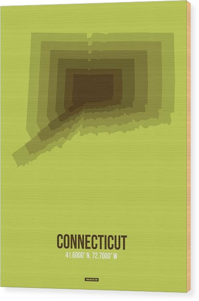 Map Of Connecticut 2 Wood Print