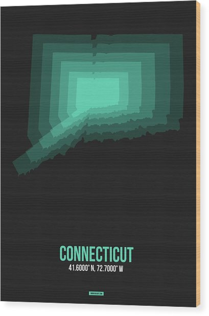 Map Of Connecticut 3 Wood Print