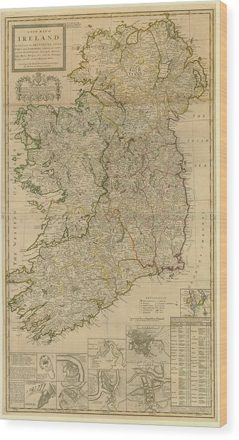 Map Of Ireland From 1714 Wood Print