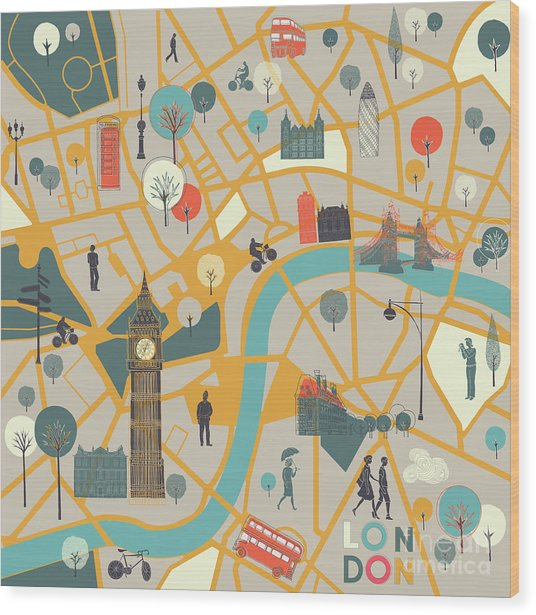 Map Of Londons Sights Wood Print