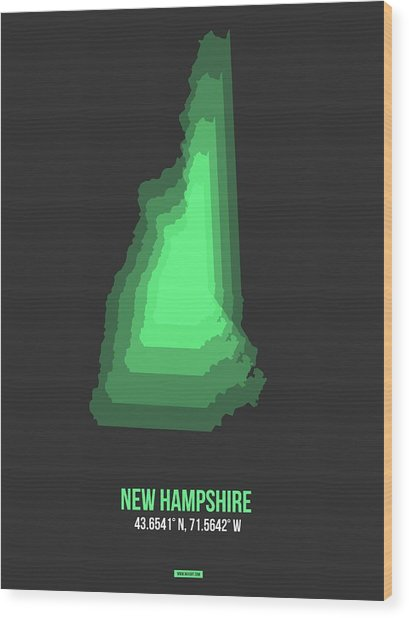 Map Of New Hampshire Green Wood Print