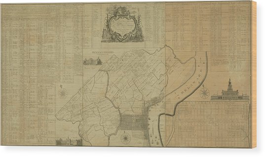 Map Of Philadelphia, Pennsylvania 1774 Wood Print