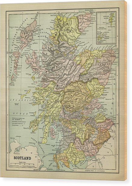 Map Of Scotland 1883 Wood Print by Thepalmer