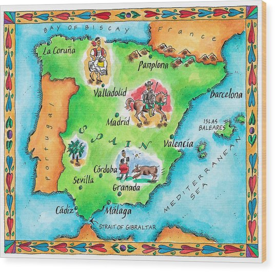 Map Of Spain Wood Print by Jennifer Thermes