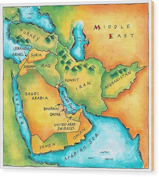 Map Of The Middle East Wood Print by Jennifer Thermes