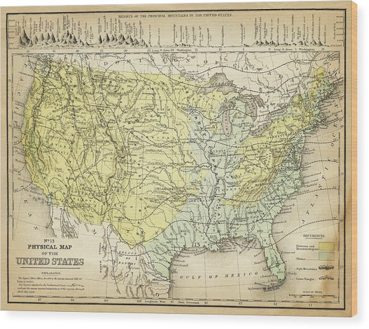 Map Of Usa 1867 Wood Print by Thepalmer