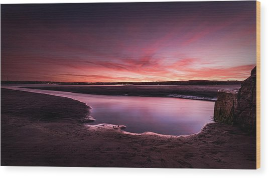 Marazion Sunset Wood Print
