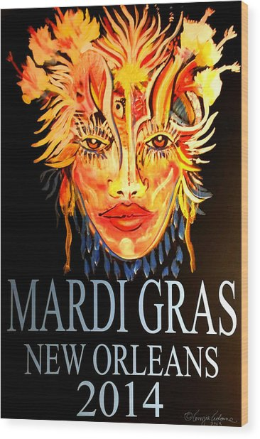Mardi Gras Lady Wood Print