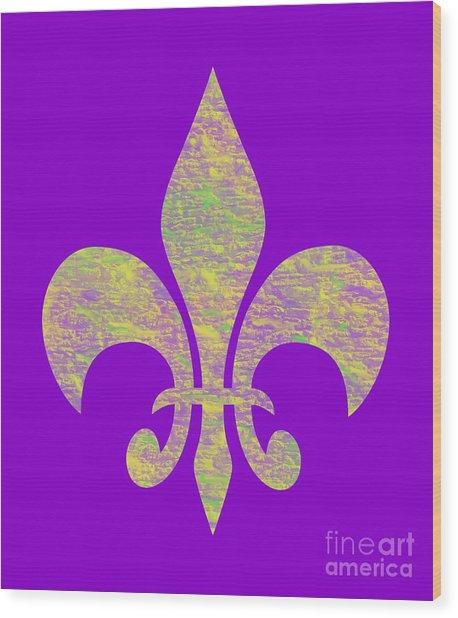 Mardi Gras Party Fleur De Lis Wood Print