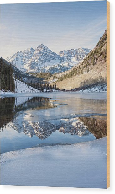 Wood Print featuring the photograph Maroon Bells Reflection Winter by Nathan Bush