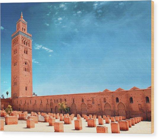 Marrakech, Koutoubia Mosque Wood Print by Alberto Manuel Urosa Toledano