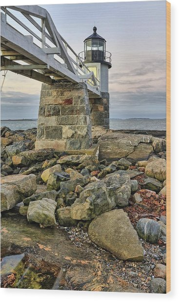 Marshall Point Light From The Rocks Wood Print