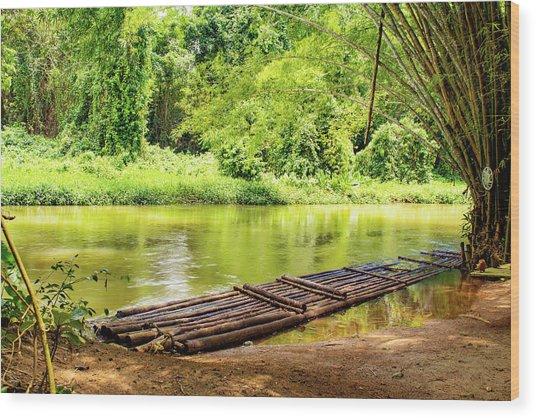 Martha Brae River Bamboo Rafting Wood Print