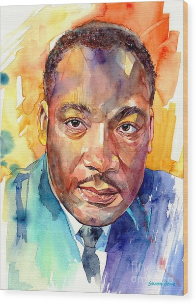 Martin Luther King Jr Watercolor Wood Print
