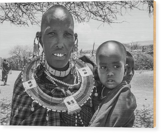 Masaai Mother And Child Wood Print