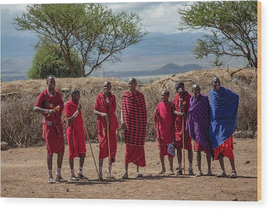 Maasai Men Wood Print