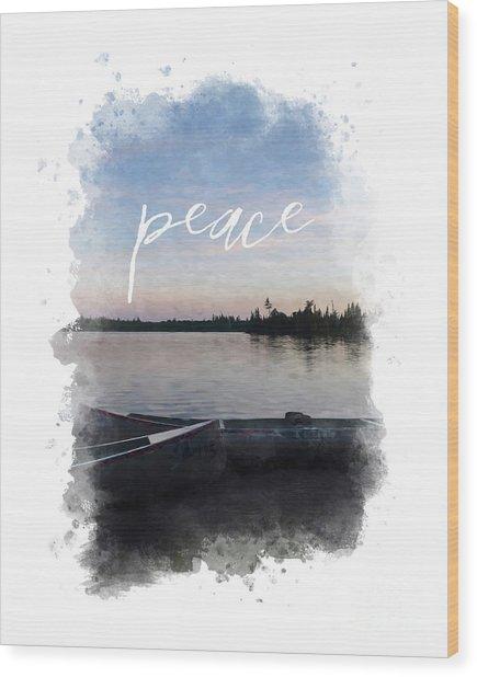 Masculine Wall Art, Peaceful Canoe At Sunset By Lake Wood Print