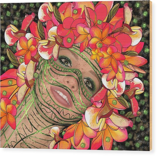 Mask Freckles And Flowers Wood Print