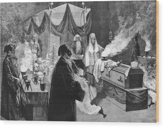 Masonic Ritual Wood Print by Hulton Archive