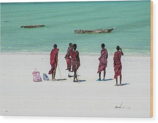 Massai At The Beach Wood Print