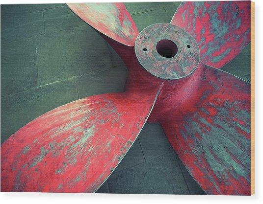Massive Propeller Distressed Red Wood Print by Peskymonkey
