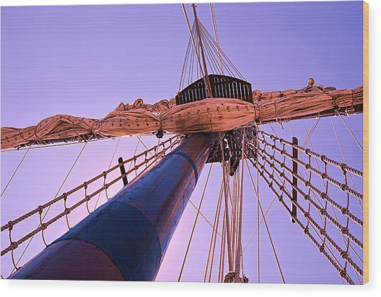 Mast And Sails Wood Print