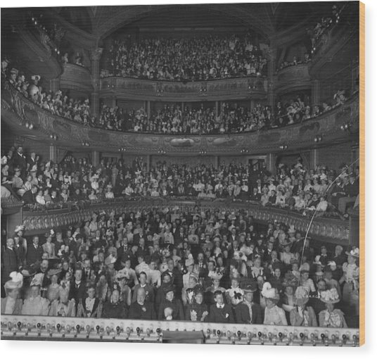 Matinee Audience Wood Print by London Stereoscopic Company