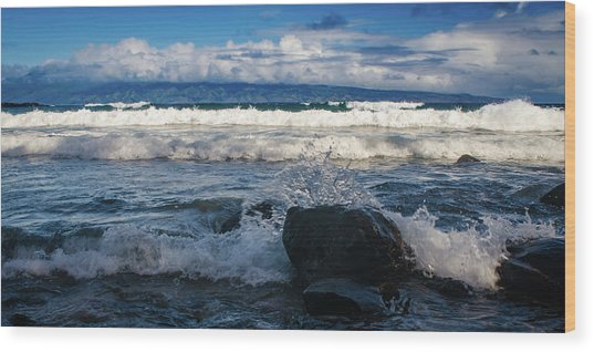 Maui Breakers Pano Wood Print