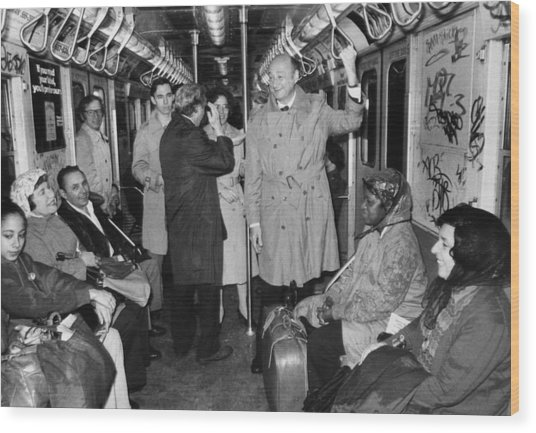 Mayor Ed Koch Rides The Subway Wood Print by New York Daily News Archive