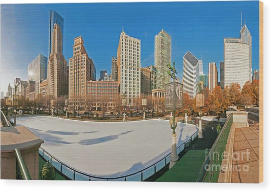 Mccormick Tribune Plaza Ice Rink And Skyline   Wood Print