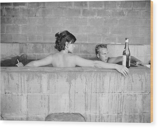Mcqueen & Adams In Sulphur Bath Wood Print by John Dominis