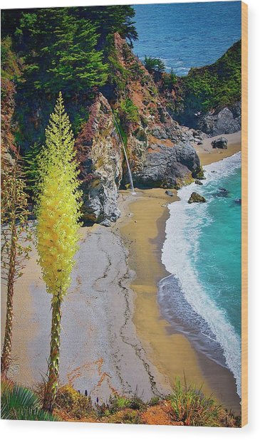 Mcway Falls With Blooming Yucca Wood Print